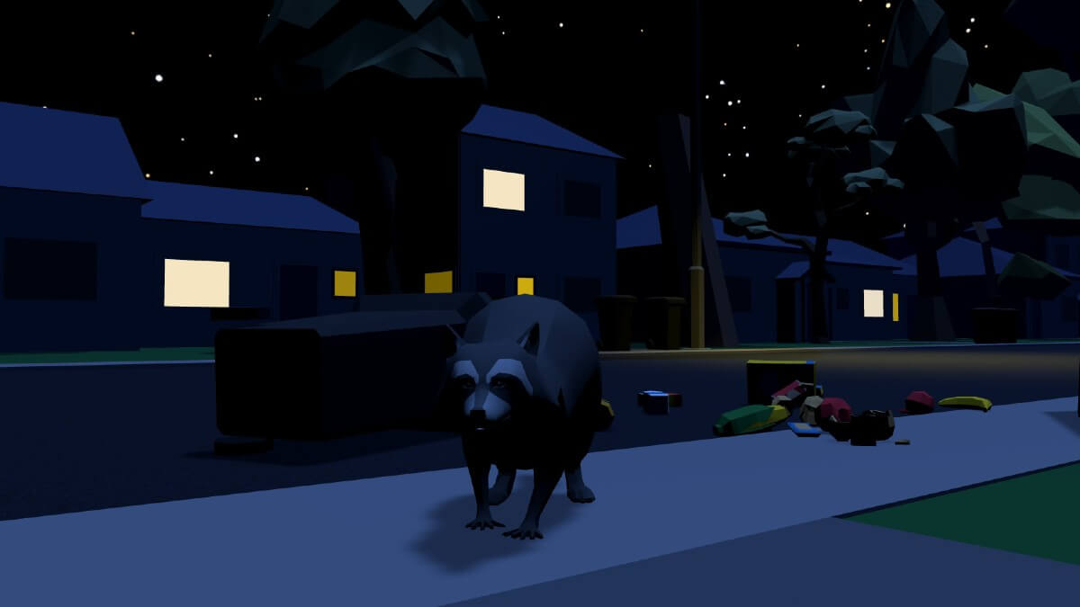 raccoon at night in video game