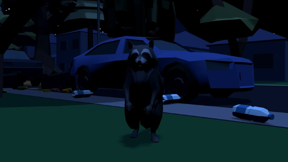 animated raccoon in a video game on the streets of Toronto