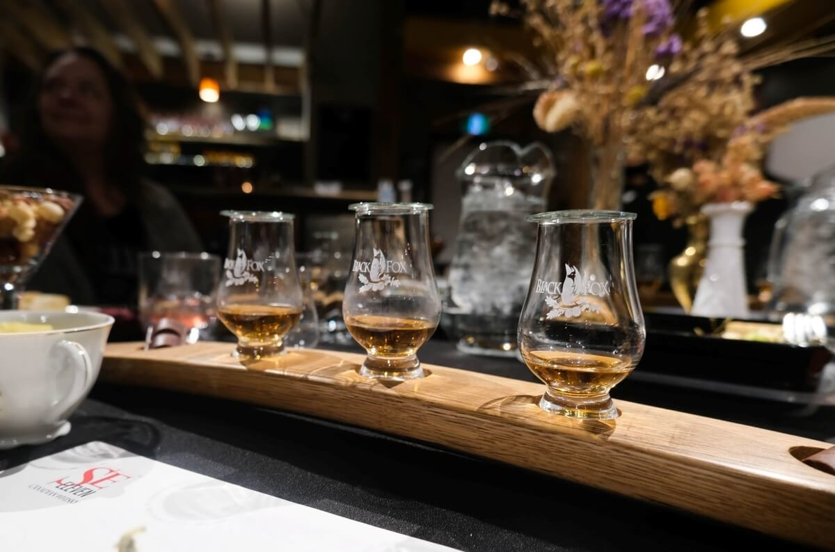 whiskey flight on a cocktail bar