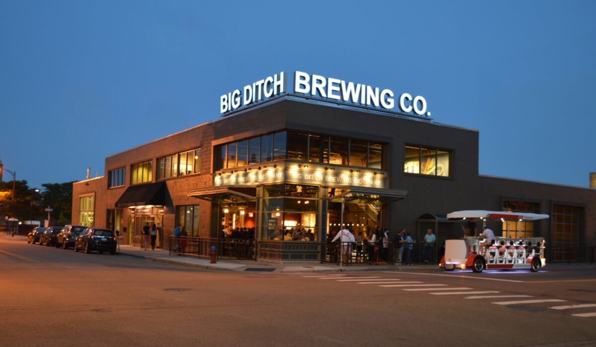 exterior of big ditch brewing company providing shot and a chaser