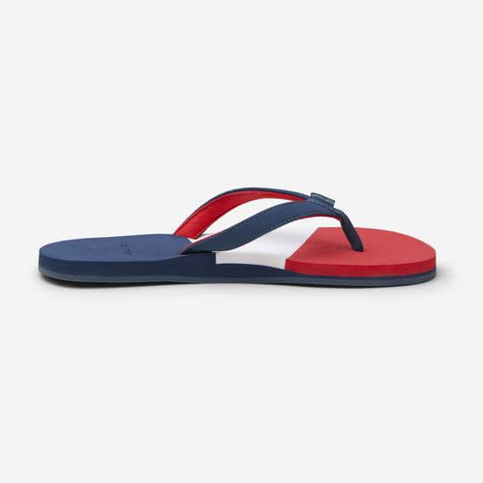 blue, red and white flip flop from hari mari, created by jeremy stewart featured on the DEC network speaker series