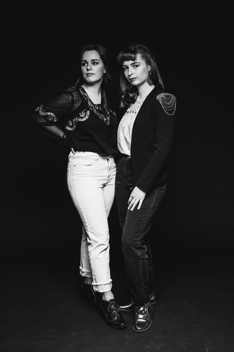 black and white full length photo of Jay & Jo