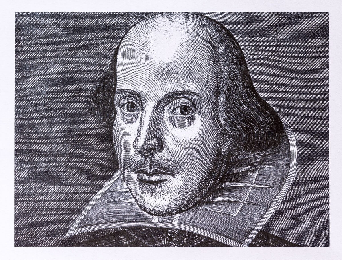 black and white sketch of william shakespeare, a midsummer night's walk