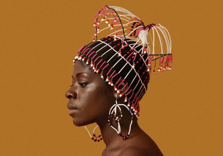 blanton museum of art black woman in beaded headpiece