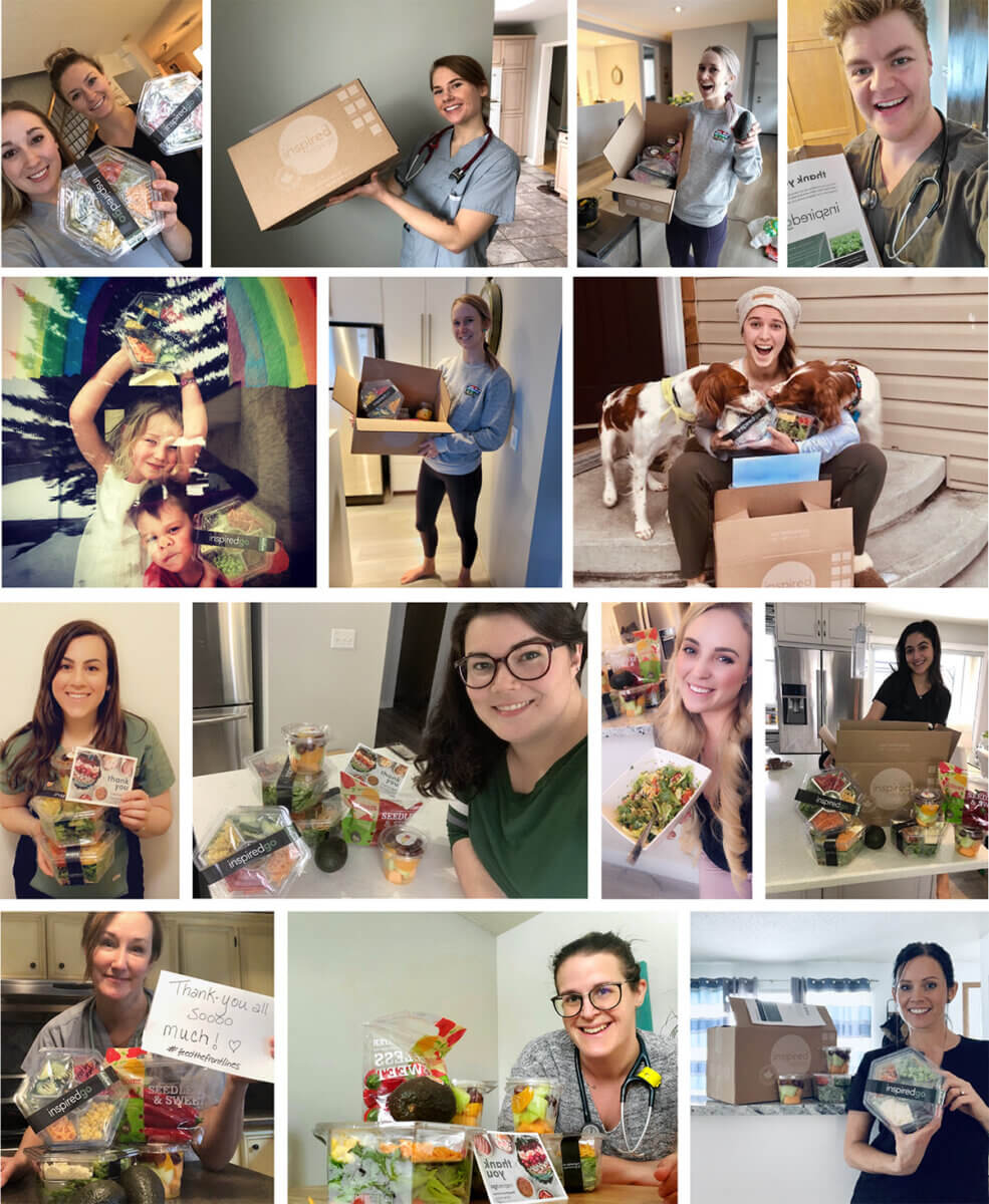 collage of happy people receiving food from meal delivery company inspired go