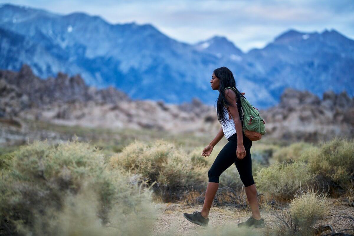 black woman on her next hot girl walk in the desert