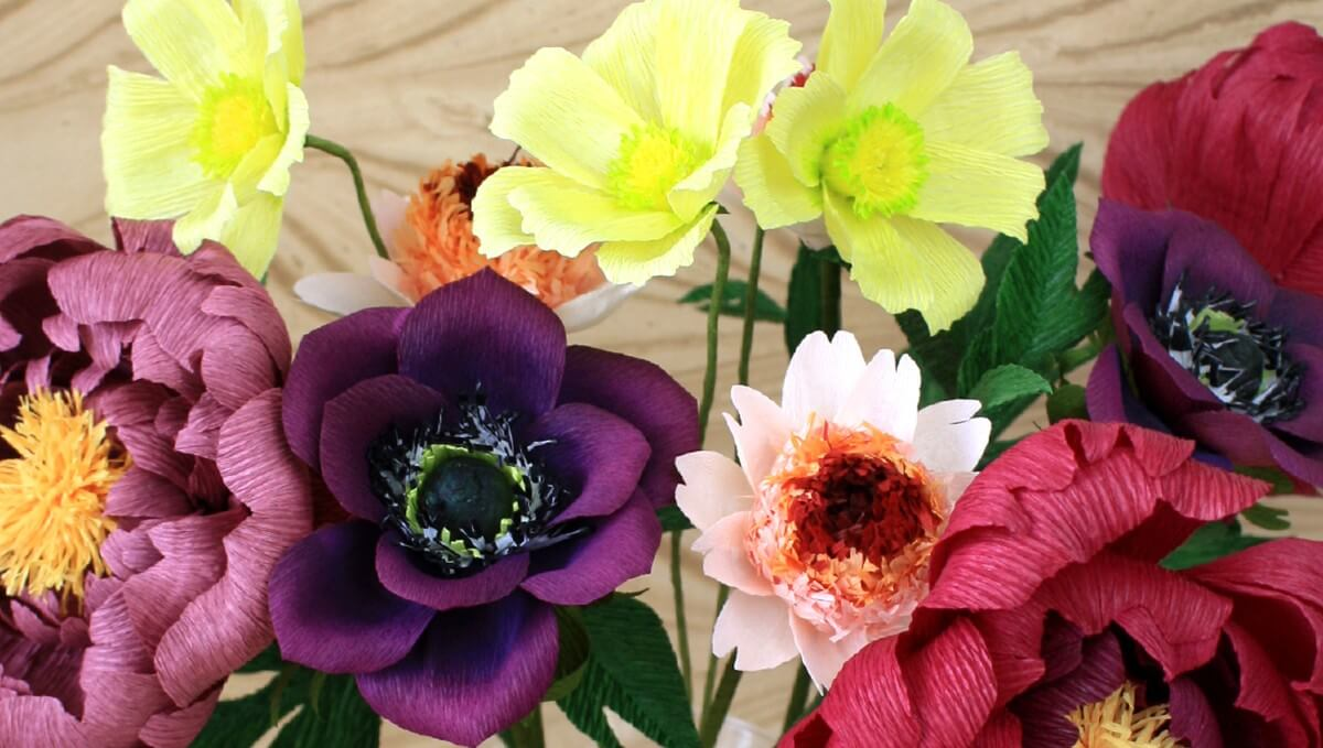 multicoloured pre-made paper flowers