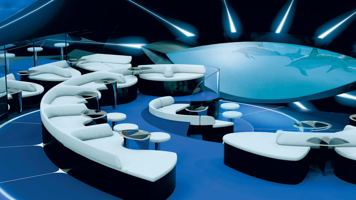 blue lounge on a ship viewing fish through glass windows