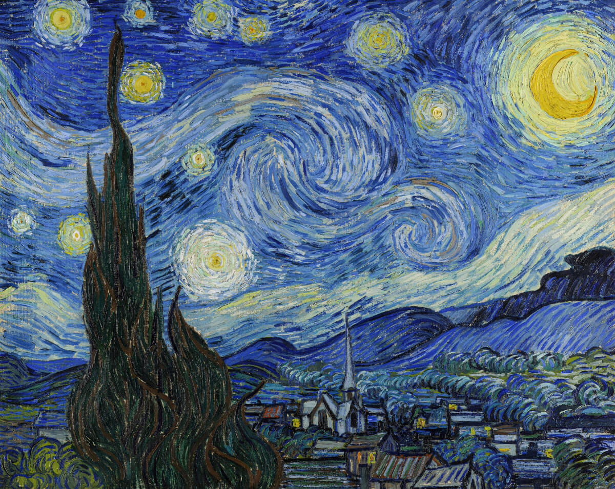 blue and yellow van gogh painting