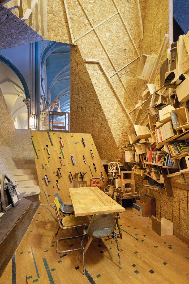 A construction site inside a church in Buffalo, NY