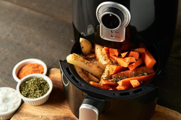 vegetables & dressings in an air fryer