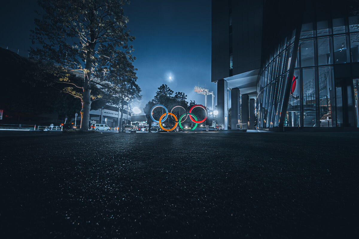 The Tokyo Olympic rings lit up at night