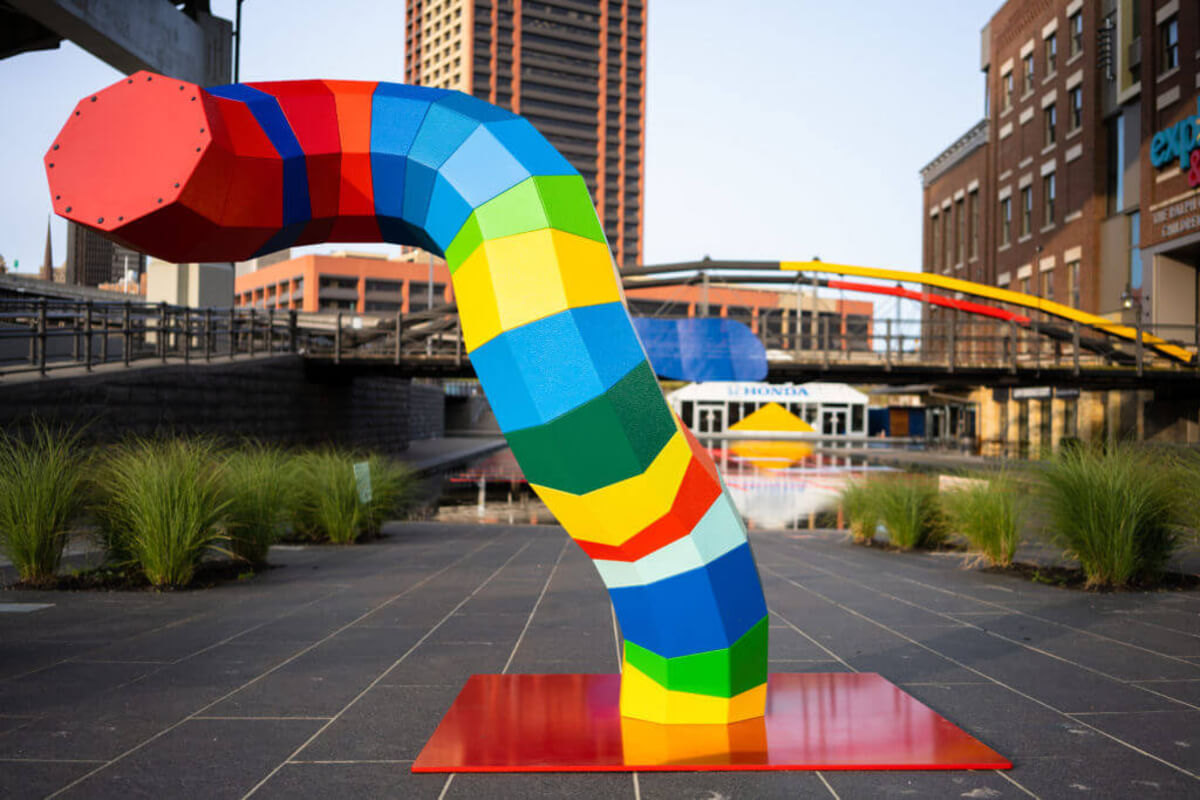 multi-coloured sculpture at play/ground festival in buffalo