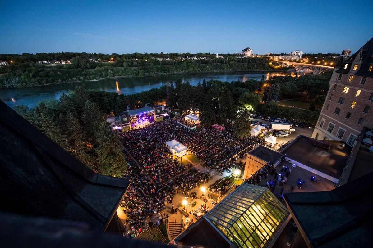 a nightime view of the saskatchewan jazz festival