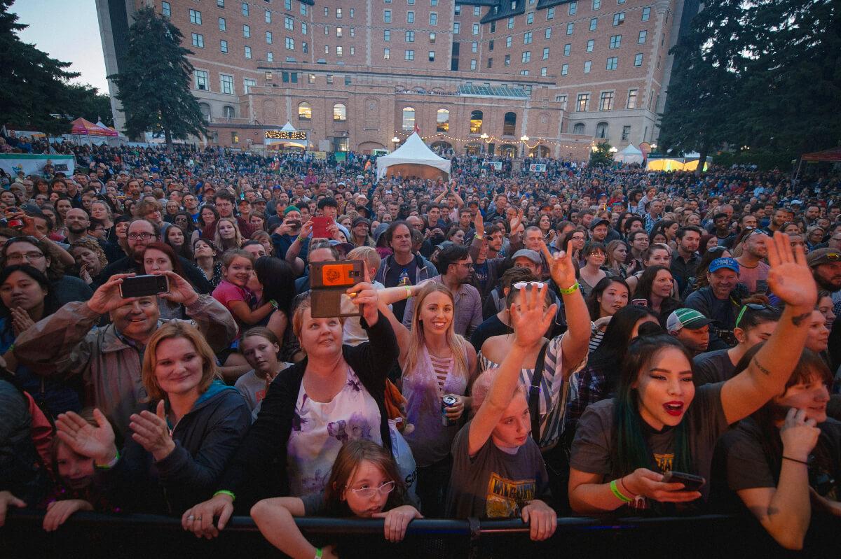 fans outside at saskatchewan jazz festival