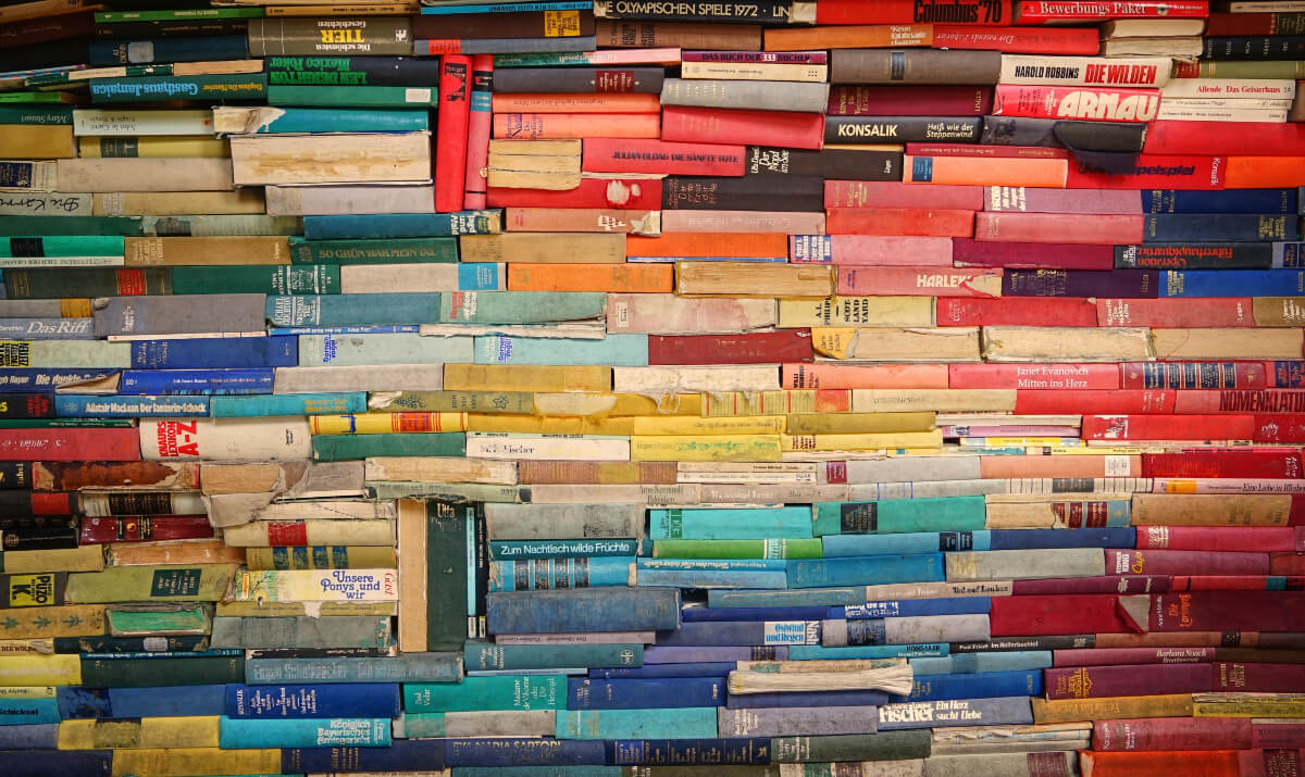stacks of colourful books at the texas book festival