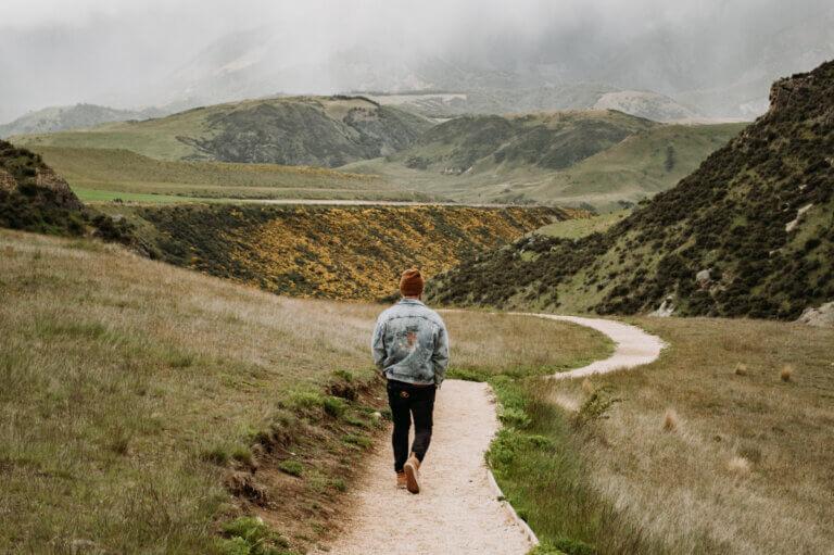 a man experiencing walking meditation benefits