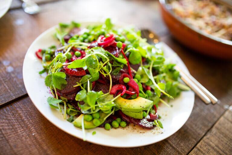 greens salad at an austin vegan restaurant