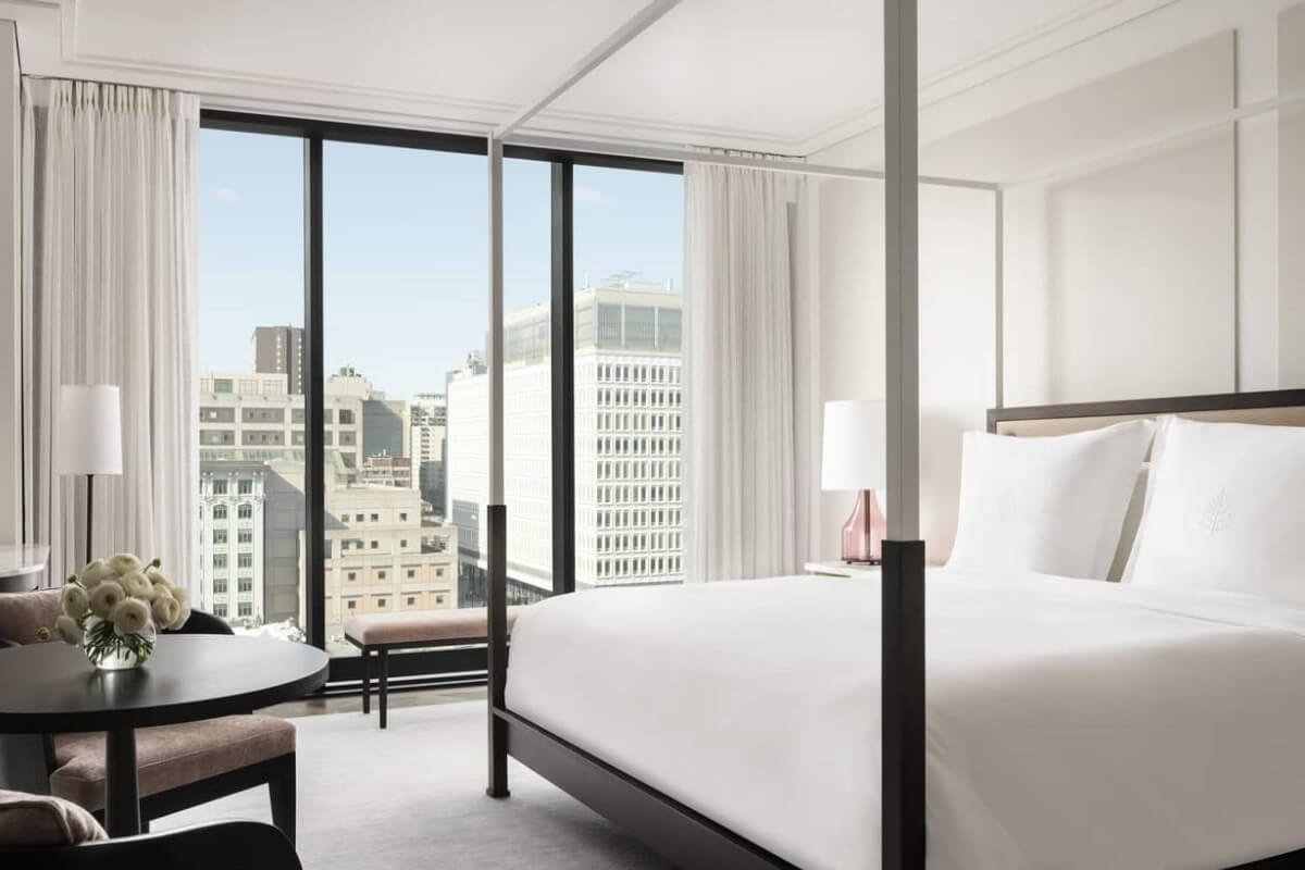 inside a hotel room at Four Seasons Hotel Montreal, a favourite among Canada hotels