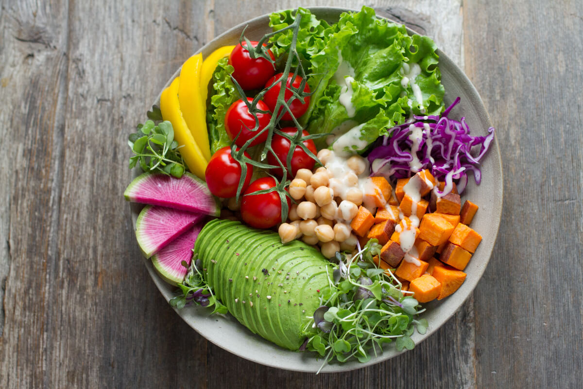colourful bowl of fruit, vegetables and chickpeas