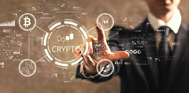 man and cryptocurrency symbols