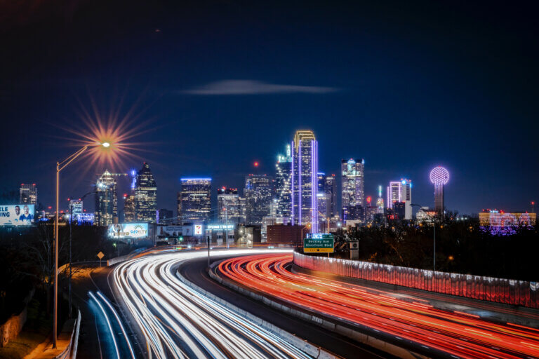 night view of dallas for date night