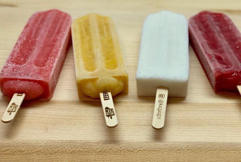 4 coloured ice pops on sticks