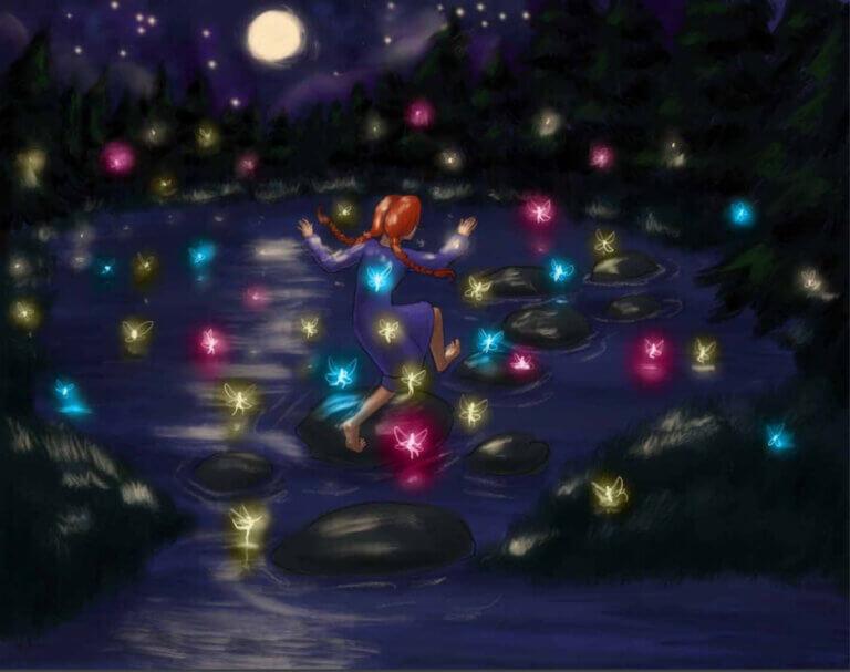 a girl among fireflies in a kids' book