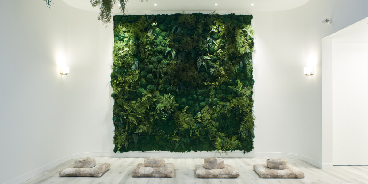 white meditation room with green plant wall for mental wellness