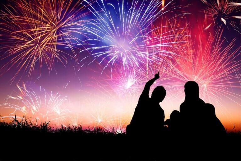 people watching the nutrien fireworks festival
