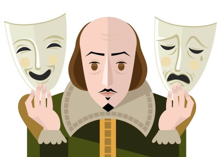 animated shakespeare holding happy and sad masks for shakepeare on the saskatchewan 2021