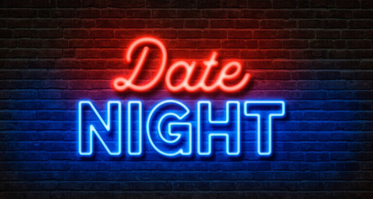 red and blue neon sign for toronto date ideas