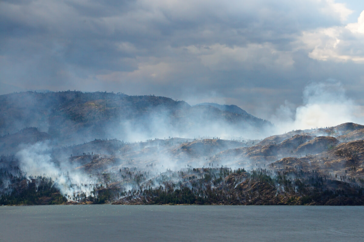 wildfire burning in a mountainous area