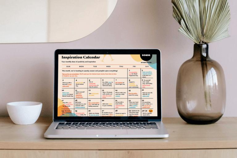 Laptop featuring Toast's Inspiration Calendar for October 2021