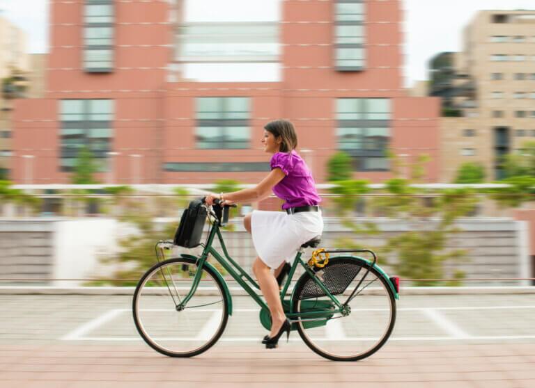 Woman biking to work