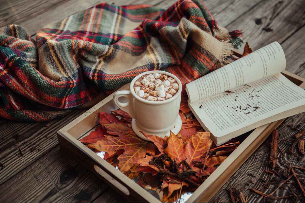 Hot chocolate, an open book, fallen leaves, and a plaid blanket