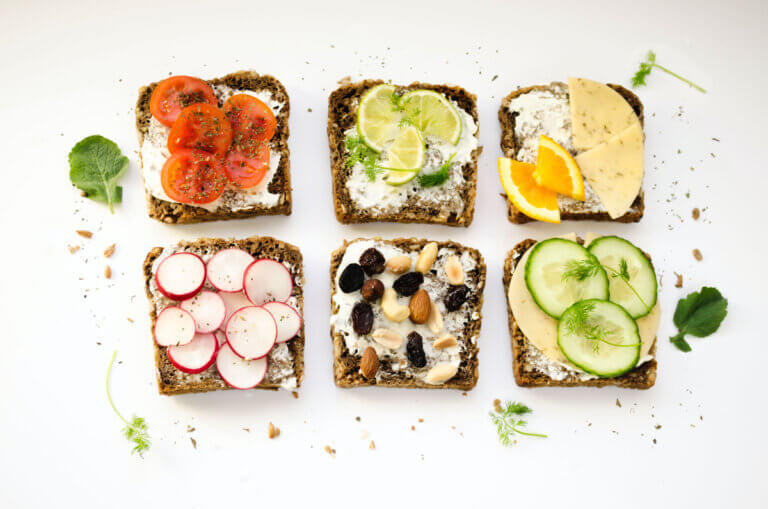 six pieces of bread with healthy toppings