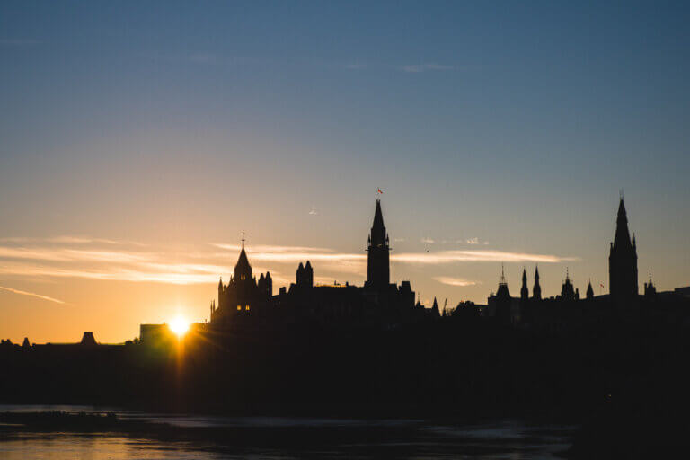 canadian parliament buildings at sunset