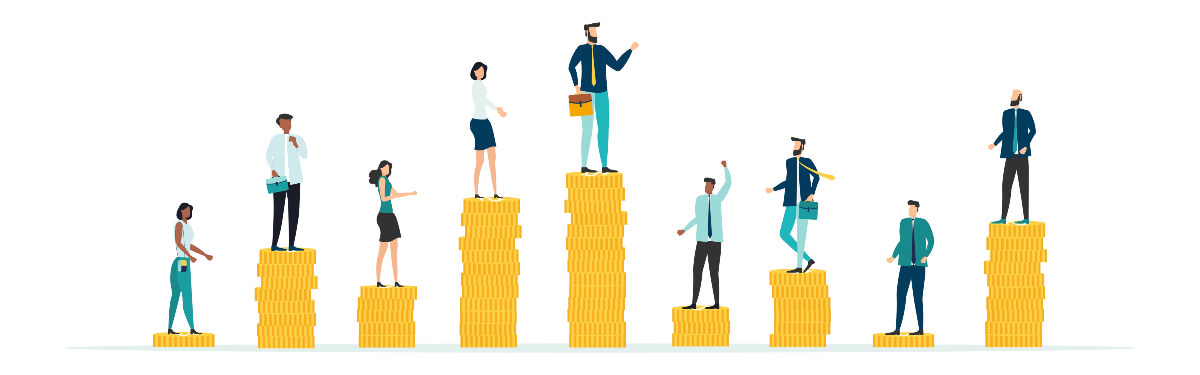 Image of workers standing on stacks of coins of differing heights