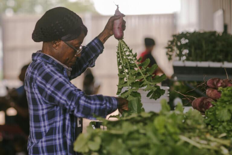 At Bonton Farms, an organization in a food desert, a woman sorts fresh produce.