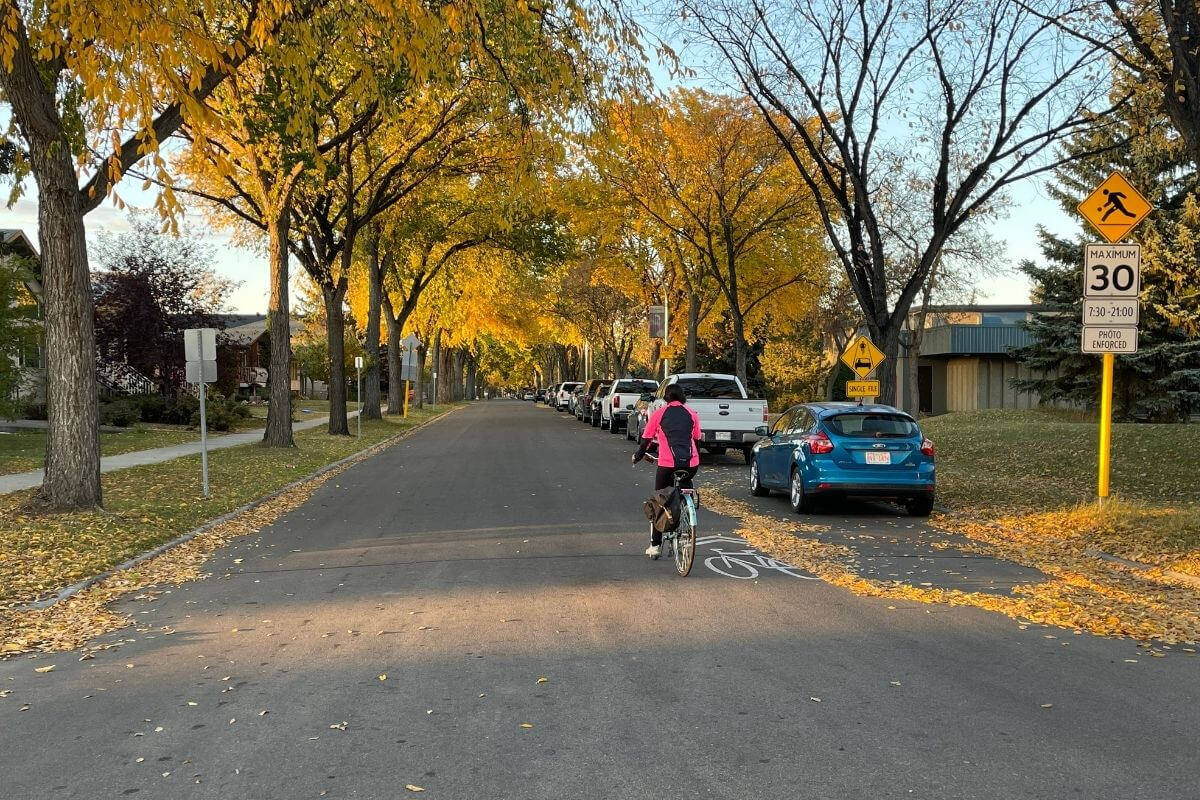 Azra Chatur on her active commute, riding her bike down the street